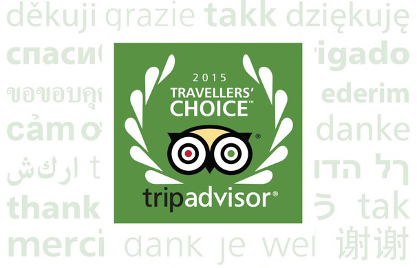 Vencedor do Travellers' Choice pelo TripAdvisor 2015