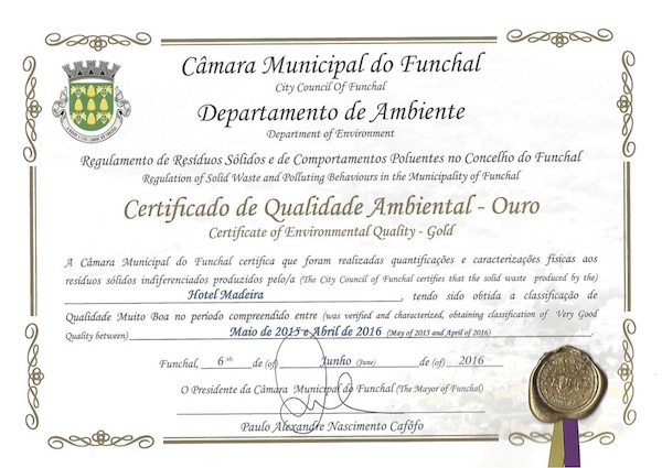 Hotel Madeira Certificate of Environmental Quality 2016