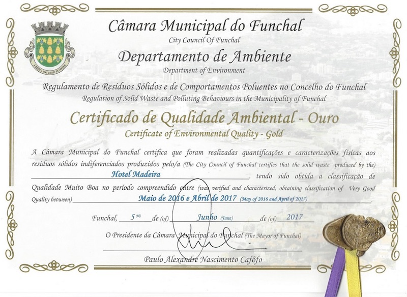 Environmental Quality Certificate - Gold 2017